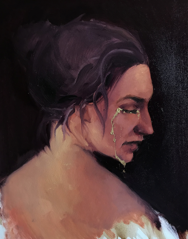 1.1 Advanced PaintingAnel TulegenovaAlmaty, Kazakhstan  |  DOS EducationGolden Tears (diptych) Oil on canvas and acqua bronze