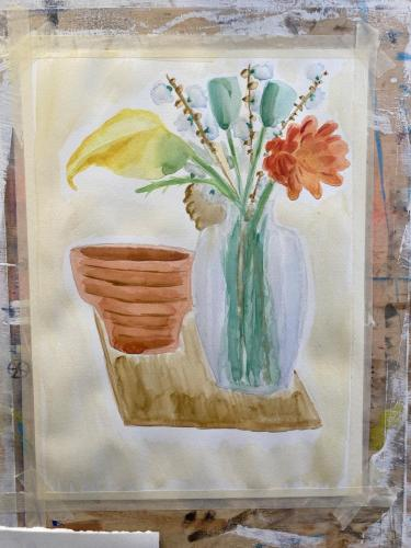 Watercolor and Tempera-Gouache TechniqueMaeve FittzBoston, Massachusetts, USA | Endicott CollegeFlower and potOil Paints8x10 inches