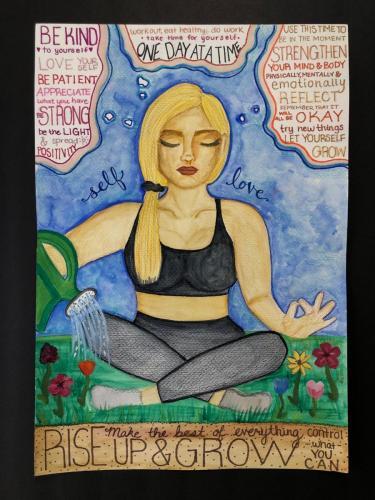 Art TherapyTara FoleyPembroke, Massachusetts, USA | University of MaineSelf Love in Quarantinemixed media on papercm. 35 x 51