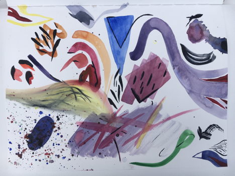 Words, Painting, and Emotions: The Mind Map of Creativity  Erin ObermayerFreehold, New Jersey, USA | The College of New JerseyTakenwatercolor on paper23 x 31 cm
